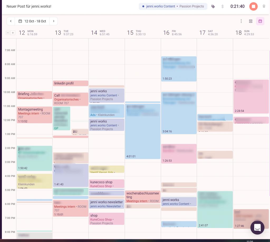 jenni.works – Toggl Track – Zeiterfassung Kalenderansicht