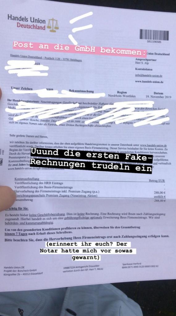 Agenurgründung – Fake Rechnungen