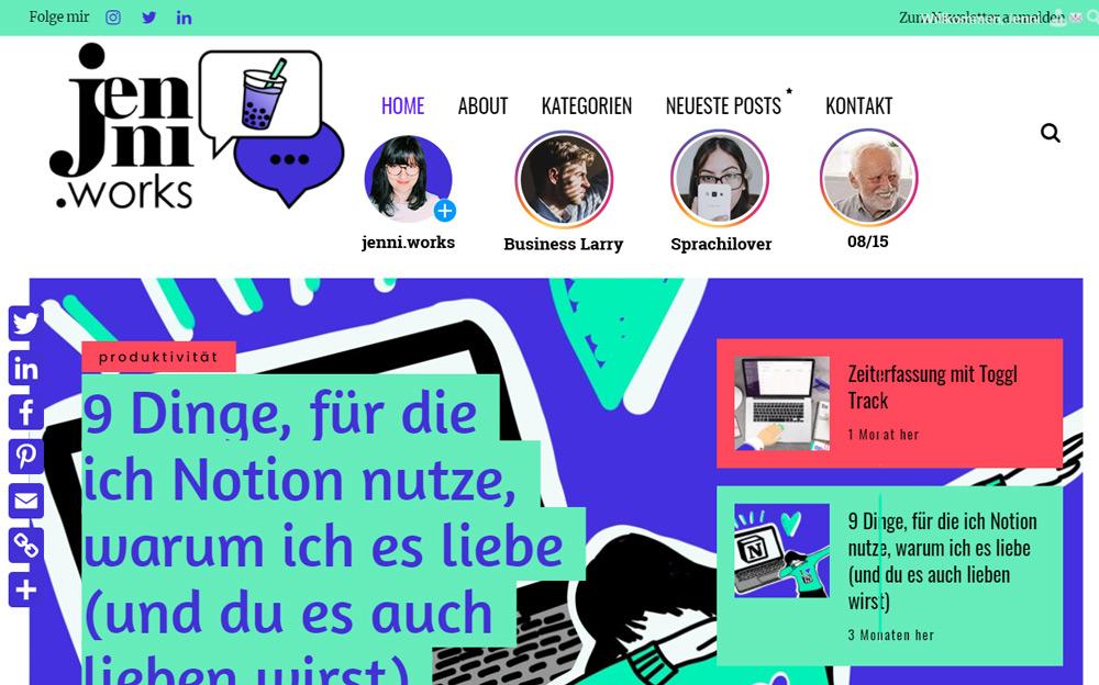jenni.works • Social Media Kanäle • jenni.stories